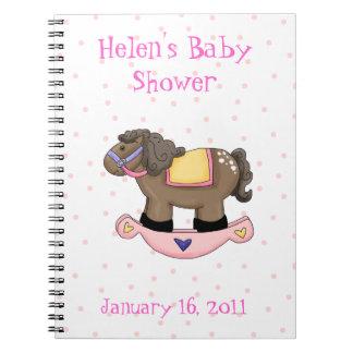 Sweet Pink Rocking Horse Baby Shower Notebook