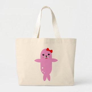 Sweet pink seal large tote bag