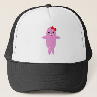 Sweet pink seal trucker hat