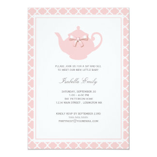Sweet Pink Teapot Baby Sip and See Tea Party 13 Cm X 18 Cm Invitation Card