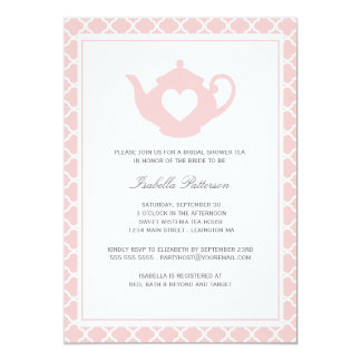 Sweet Pink Teapot Bridal Shower Tea Party Card