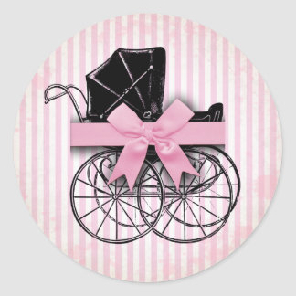 Sweet Pink Vintage Baby Carriage Pram and Bow Classic Round Sticker