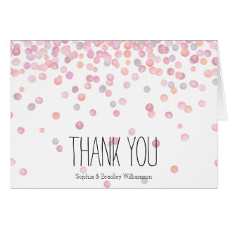 Sweet Pink Watercolor Confetti Dots Thank you Card