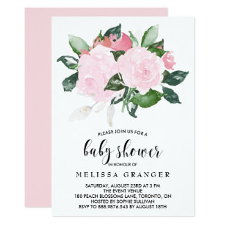 Sweet Pink Watercolor Roses Baby Shower Card