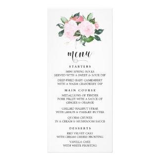 Sweet Pink Watercolor Roses Menu Card