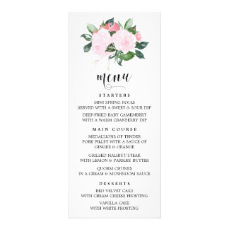 Sweet Pink Watercolor Roses Menu Card 10 Cm X 23 Cm Rack Card