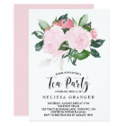 Sweet Pink Watercolor Roses Tea Party Card