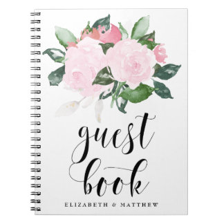 Sweet Pink Watercolor Roses Wedding Guest Book Spiral Notebooks