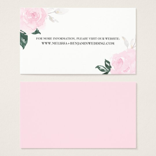 Sweet Pink Watercolor Roses Wedding Information Business Card