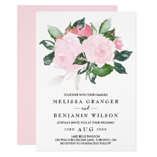 Sweet Pink Watercolor Roses Wedding Invitation