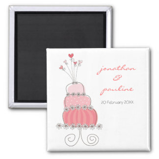 Sweet Pink Wedding Cake Whimsical Save The Date Square Magnet