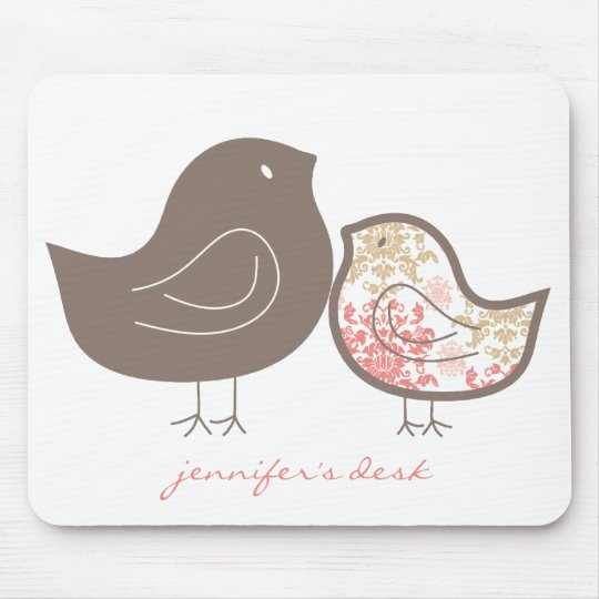 Sweet Pink Whimsical Cute Damask Chicks Mousepad