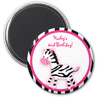Sweet Pink Zebra Party Favor Magnets