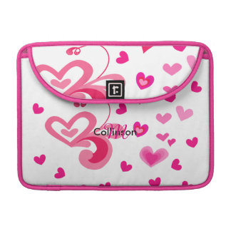 Sweet Pinky Love Hearts Pretty Girly Design Sleeve For MacBook Pro