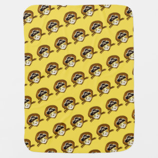 sweet pirate cat gold cartoon baby blanket