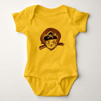sweet pirate cat gold cartoon baby bodysuit