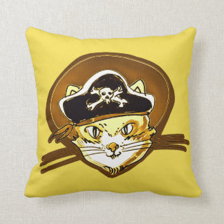 sweet pirate cat gold cartoon cushion