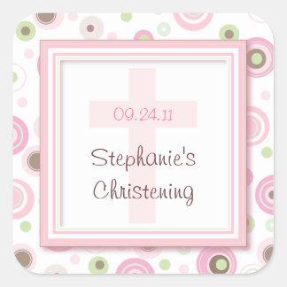 Sweet Polka Dot Cross Christening Baptism Sticker