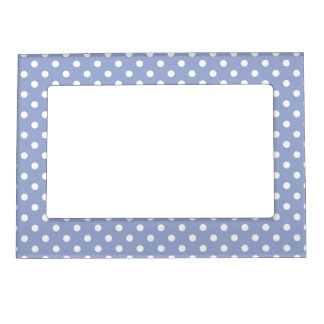 Sweet polka dots on blue background magnetic picture frame