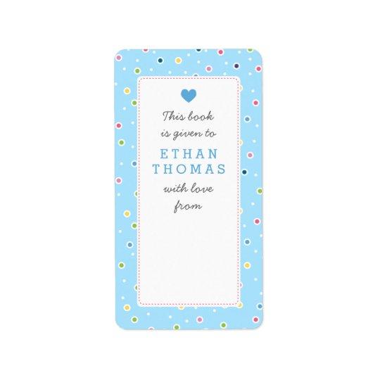 Sweet Polkadot Bubble Book Gift Bookplate Label