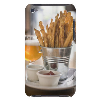 Sweet potato fries served with vinegar and Case-Mate iPod touch case