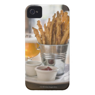 Sweet potato fries served with vinegar and Case-Mate iPhone 4 cases