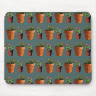 Sweet Potted Geometric Succelents Print Mouse Pad