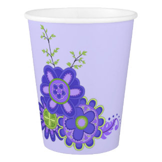 Sweet & Pretty Purples Flowers Paper Cup