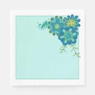 Sweet & Pretty Teal Flowers Paper Napkin