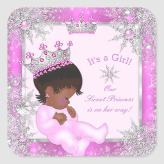 Sweet Princess Baby Shower Snowflake Pink Ethnic Square Sticker