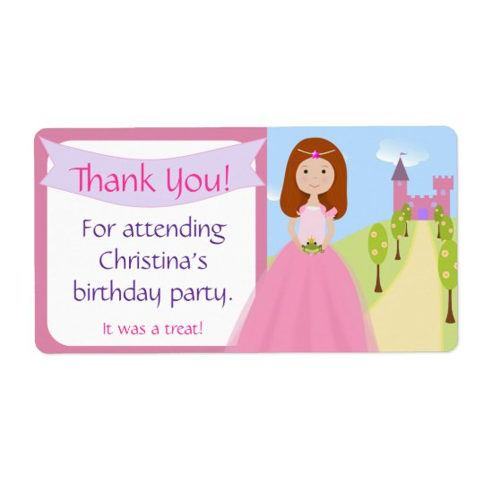 Sweet Princess Party Favour Label Shipping Label