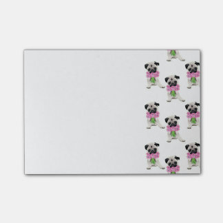 Sweet Pug with Pink FLowers Post-it® Notes