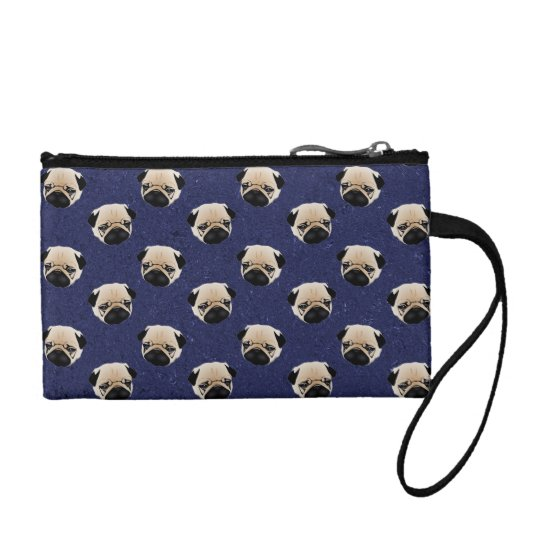 Sweet Pugs on Dark Denim Change Purses