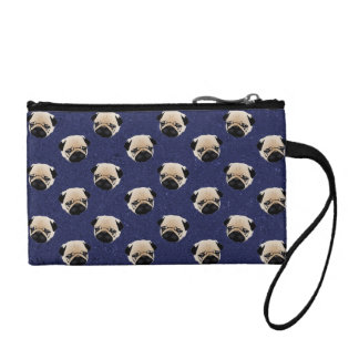 Sweet Pugs on Dark Denim Coin Purse