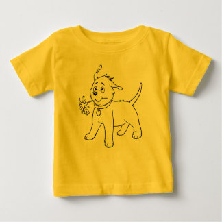 Sweet Puppy Dog with Flower - Baby T-shirt