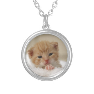 Sweet puppy kitty round pendant necklace