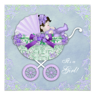 Sweet Purple and Green Baby Shower 13 Cm X 13 Cm Square Invitation Card