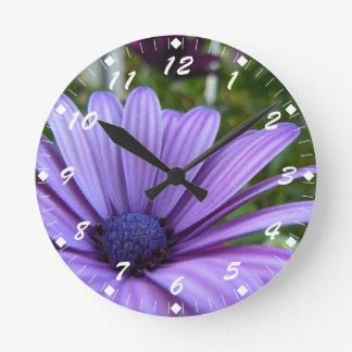 Sweet Purple Daisy Round Clock