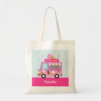 Sweet Purple Pink Ice Cream Truck For Girls Tote Bags