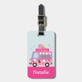 Sweet Purple Pink Ice Cream Truck For Girls Bag Tag