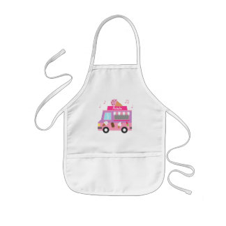 Sweet Purple Pink Ice Cream Truck For Girls Kids Apron