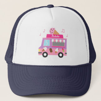 Sweet Purple Pink Ice Cream Truck For Girls Trucker Hat