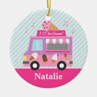 Sweet Purple Pink Ice Cream Truck Girls Room Christmas Ornament