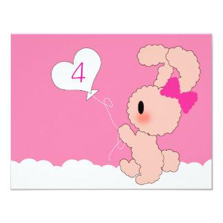 Sweet Rabbit Cute 4th Birthday invitation
