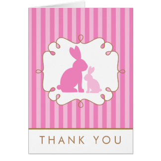 Sweet Rabbits Baby Shower Thank You Note Card