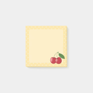Sweet Red Cherries on Yellow Post-it Notes