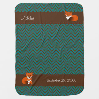 Sweet Red Fox Personalized Baby Blanket