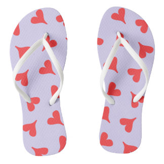 Sweet red hearts on a pastel purple background flip flops