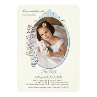 Sweet Reflection Photo First Holy Communion 13 Cm X 18 Cm Invitation Card
