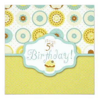 Sweet Retro Cupcake Birthday 13 Cm X 13 Cm Square Invitation Card